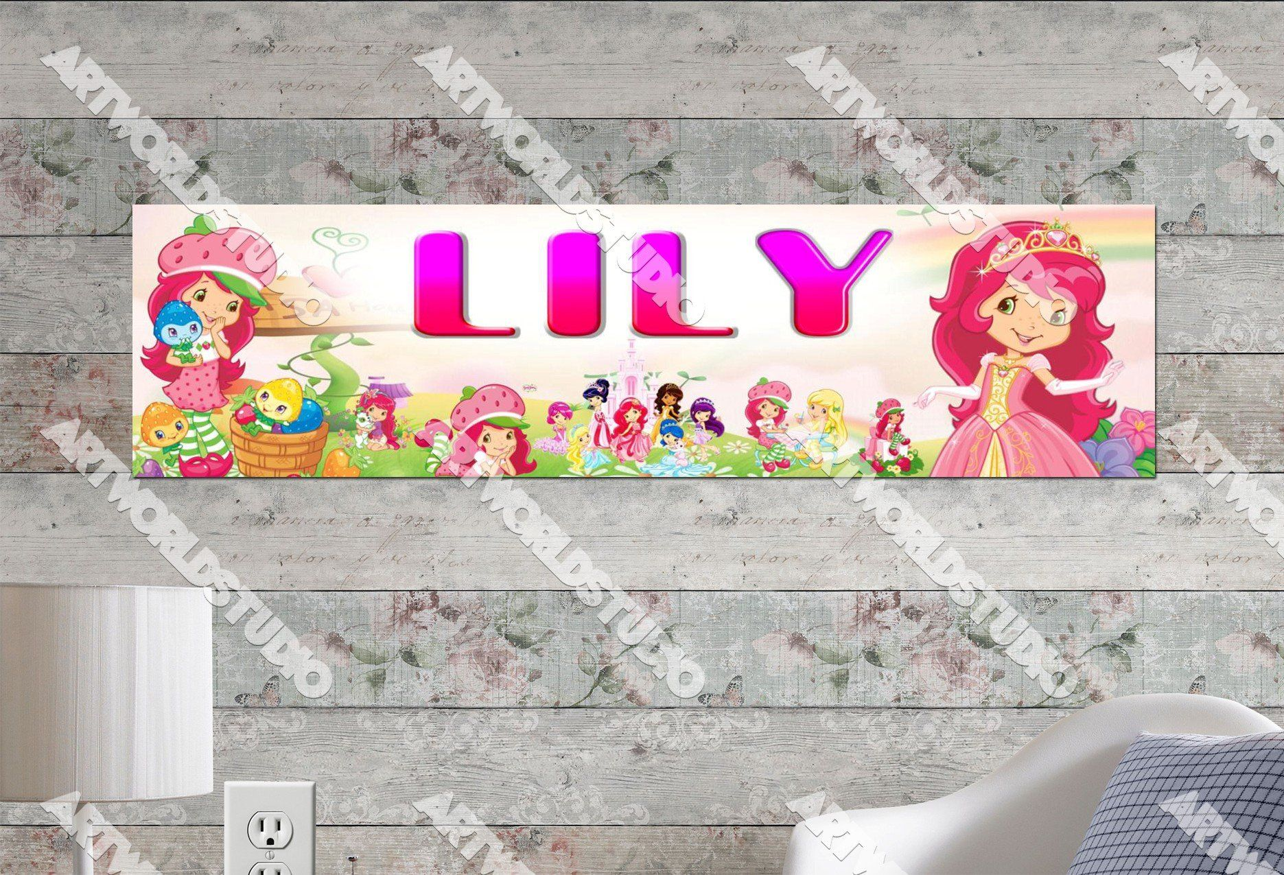 Personalizedcustomized Strawberry Shortcake Poster, Border Mat And Frame Options Banner