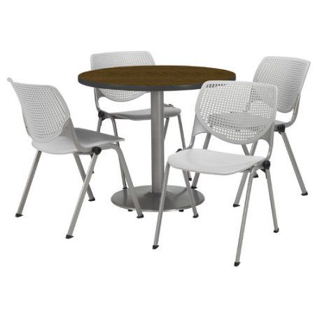 Round 36 Inch Breakroom Table 4 Lime Kool Chairs Walnut Top Green