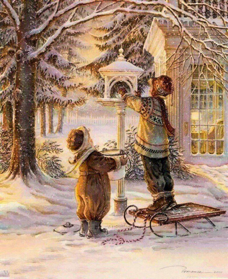 отключении зимние сказочные старинные открытки даже