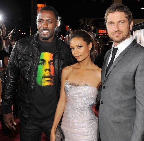 At RocknRolla Premiere (Hair by PM) with Idris Elba and Gerry Butler