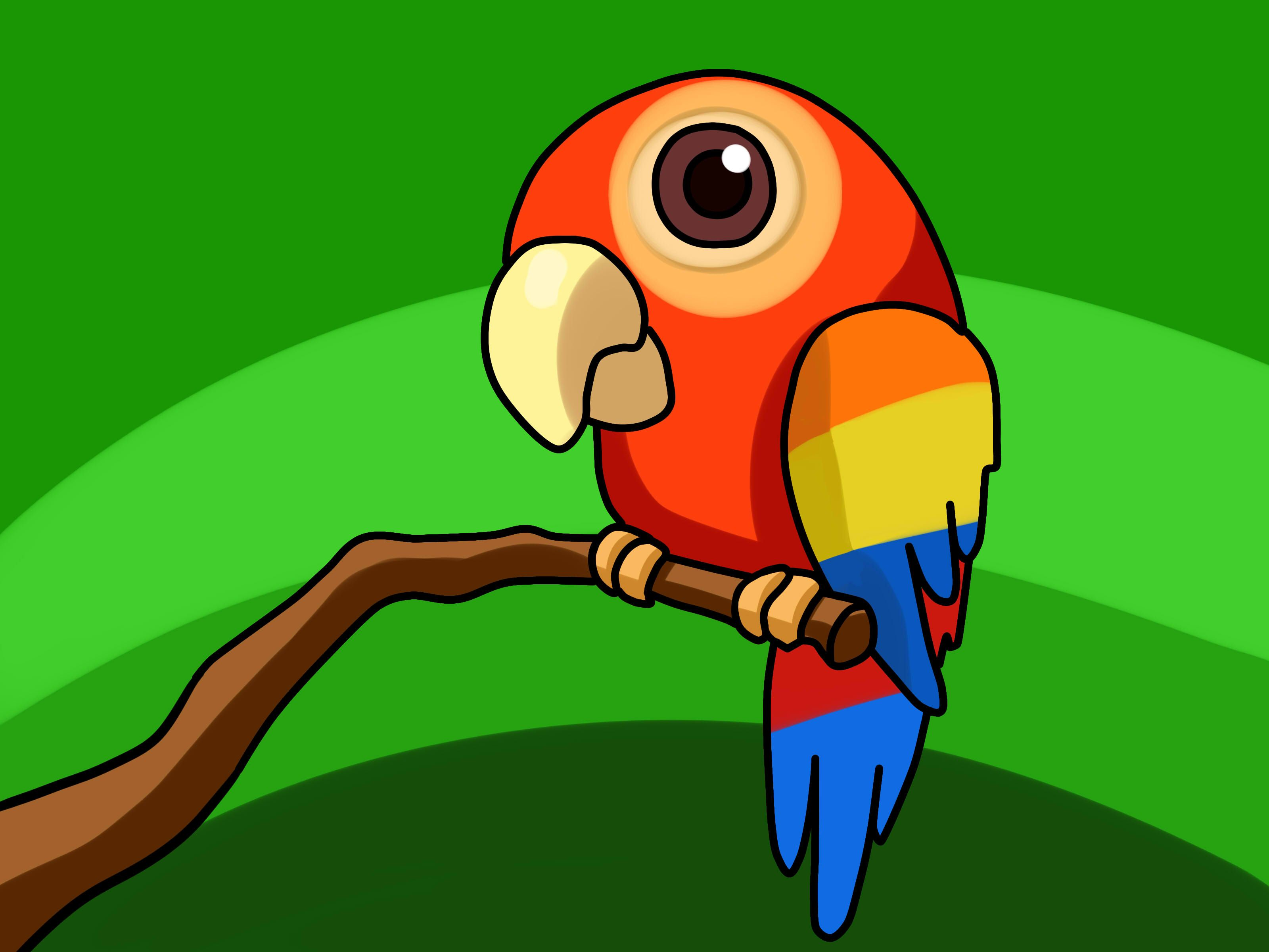 Рисунок смешной попугай, днем рождения любимой