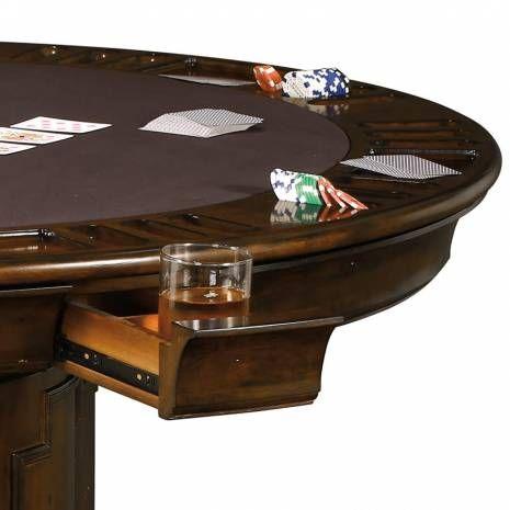 Six Player Round Storage Pedestal Game Table 699034 Howard Miller