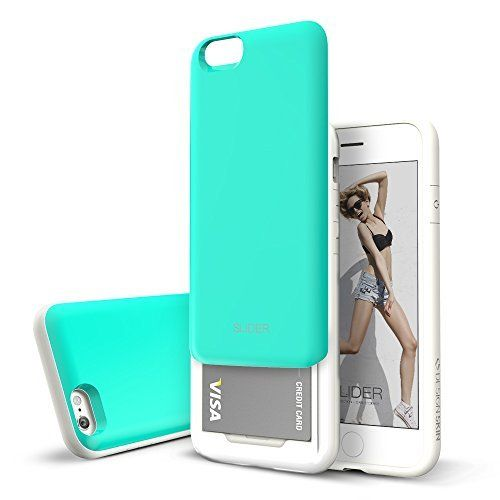 """iPhone 6 Case (4.7""""), DESIGNSKIN¢ç SLIDER - [TPU + PC] 3-Layer Protection Bumper Easy Slide Soft and Hard Cover Card Slot Storage Sliding Unique Design Premium Best iPhone 6 4.7 inches Case (Mint), http://www.amazon.com/dp/B00OQWCW1I/ref=cm_sw_r_pi_awdm_OyP1vb0Z56YDM"""