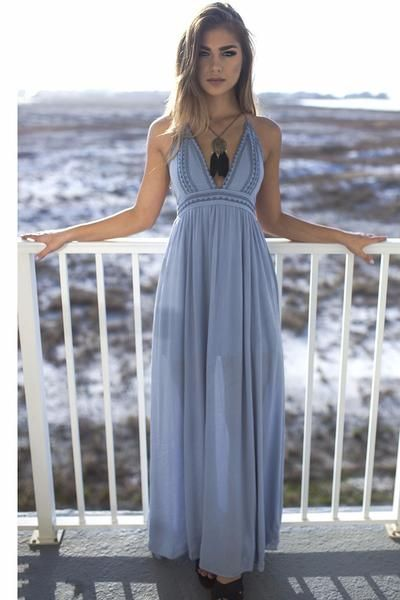 The perfect beach sage maxi dress features a tie halter for Petite maxi dresses for beach wedding