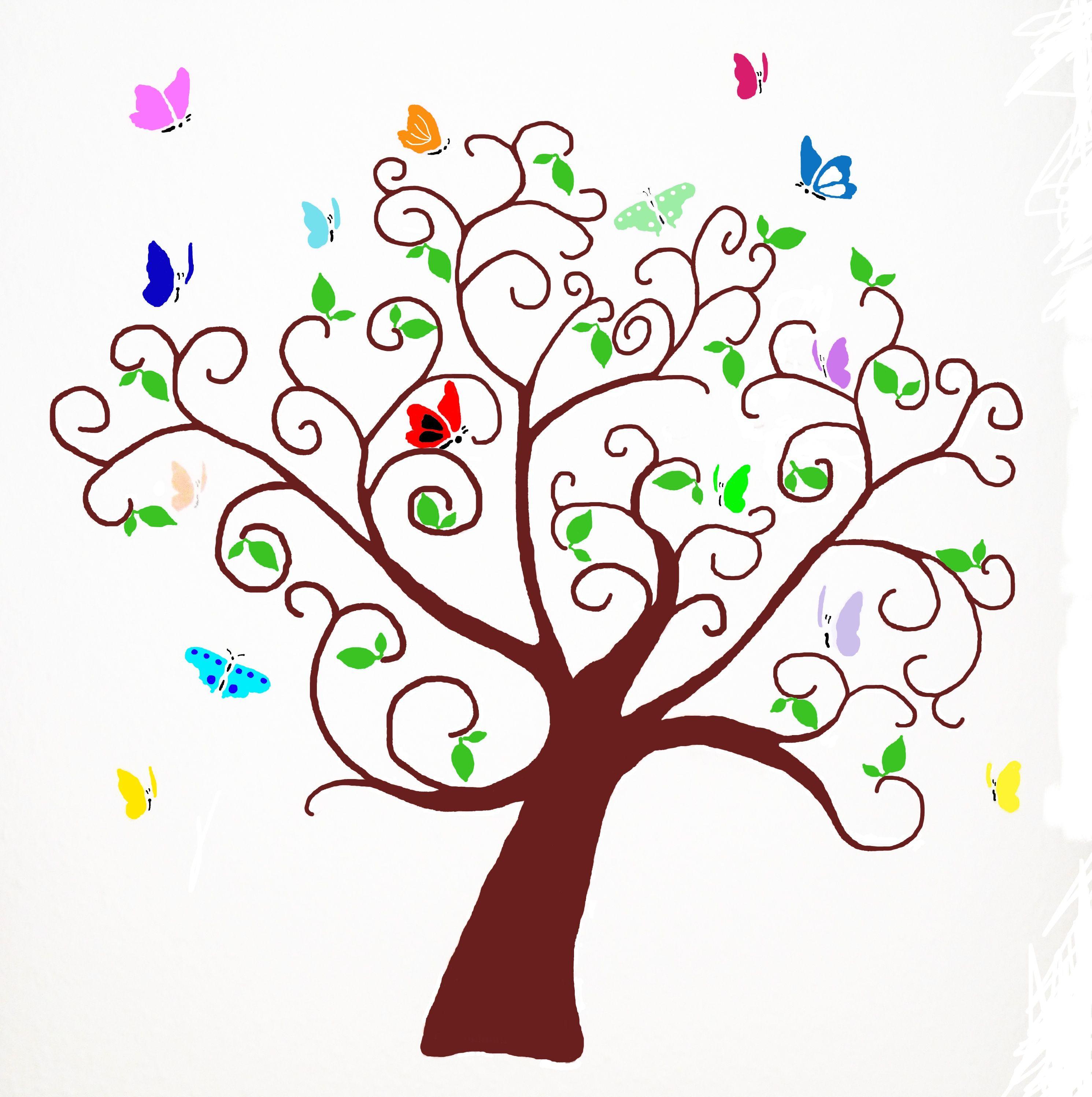 Butterfly tree wall stencil visit www