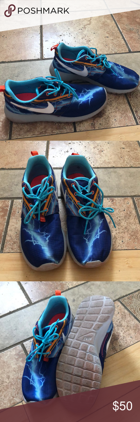 1708a979adbf Nike Roshe Lightning bolt Nike roshes. Barely worn. They are youth 5.5  which is women s 8 Nike Shoes Athletic Shoes