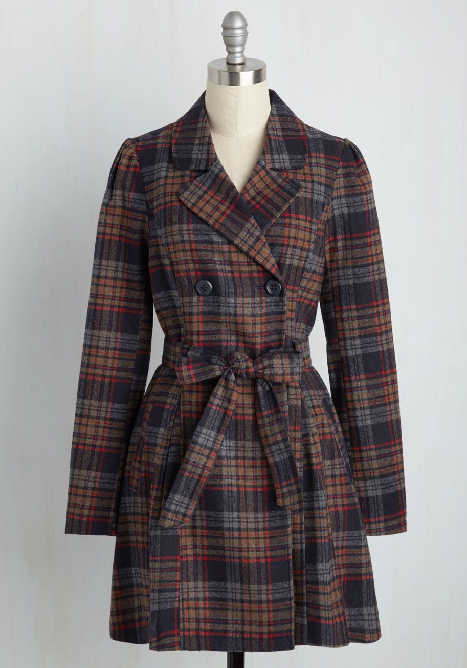 Capital Class Trench in Plaid Coat, Clothes, Plaid outfits