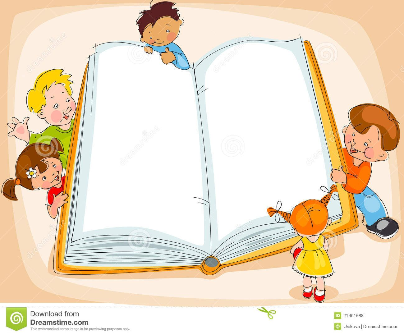 Illustration About Young Children Are Reading A Great Book Drawing Banner Illustration Of Education Beautifu Kids Reading Books Kids Background Kids Reading