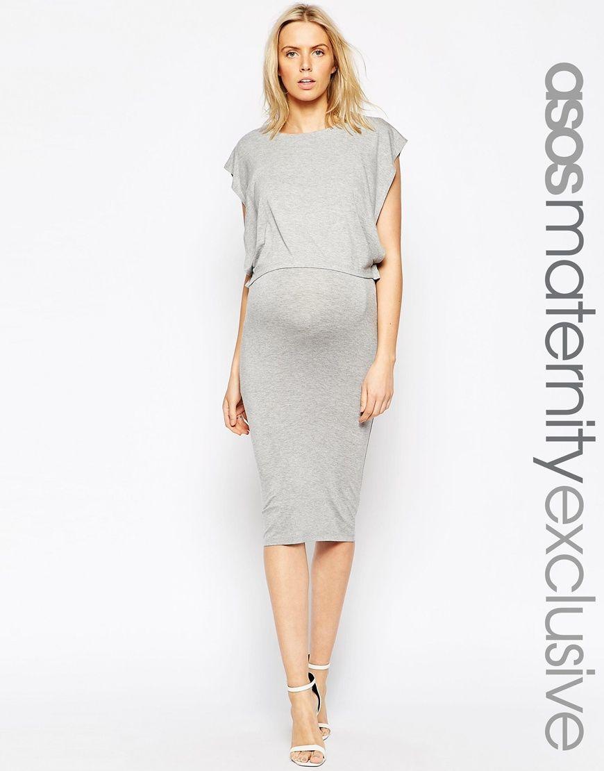 de4d6c5e4b7 Image 1 of ASOS Maternity NURSING Midi Column Dress With Double Layer