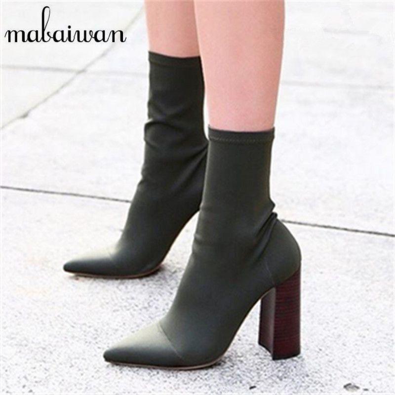 3318a9b92 Mabaiwan Зеленый Эластичный Ткань Ботильоны высокий толстый каблук стрейч  Для женщин Осень носок Сапоги и ботинки
