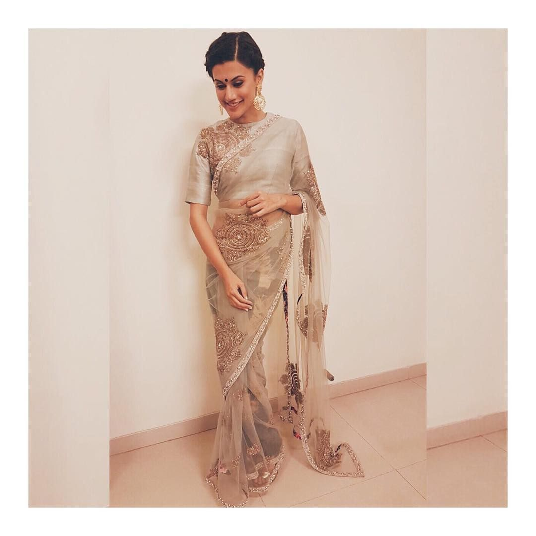 Tapsee Pannu In A Saree By Bhumika Sharma And Jaipur Gems Jewellery Indian Designer Outfits Indian Fashion Designers Saree