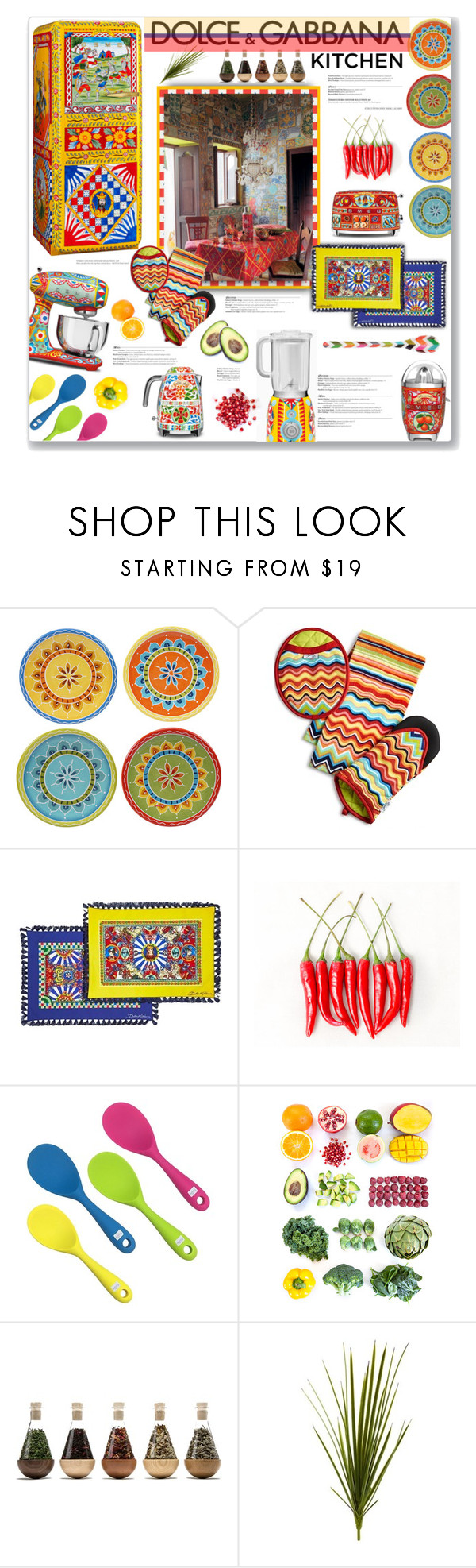 """""""Dolce and Gabanna Kitchen   Color + Pattern"""" by fassionista ❤ liked on Polyvore featuring interior, interiors, interior design, home, home decor, interior decorating, Dolce&Gabbana, Certified International, WALL and Nearly Natural"""