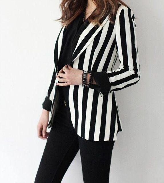 C83499a strisce bianche e nere temperamento abito giacca giacca a righe- in  Giacche e cappotti da donna da Abbigliamento da donna su  m.italian.alibaba.com. 4ad480747009