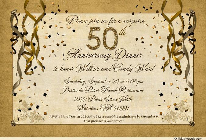 Surprise Wedding Invitation Wording: Festive 50th Anniversary Party Invitation