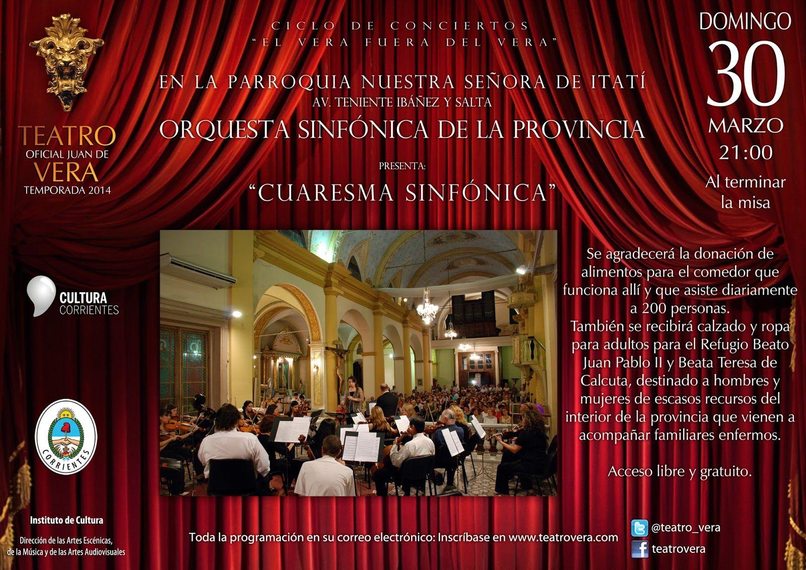 """""""CUARESMA SINFÓNICA"""": Concierto solidario de la Sinfónica en la Parroquia Virgen de Itatí #VamosParaAdelante"""
