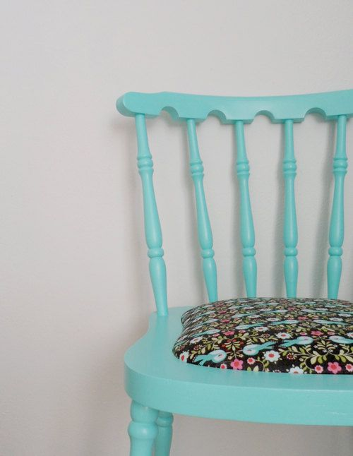 Vintage recycled chair in turquoise by lalole on Etsy