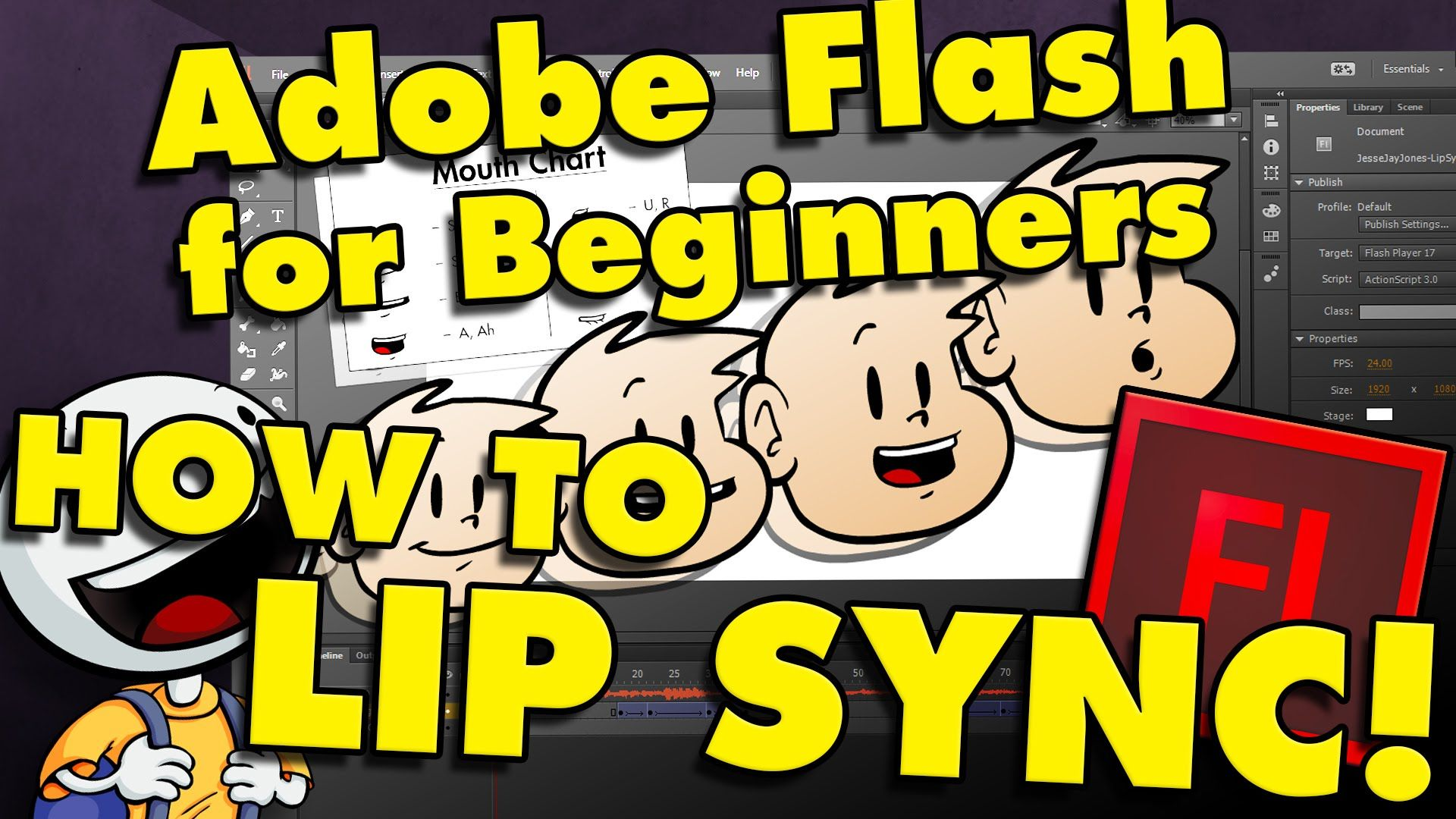 How to make a talking cartoon audio in flash for beginners part how to animate talking cartoons in adobe flash cc baditri Choice Image