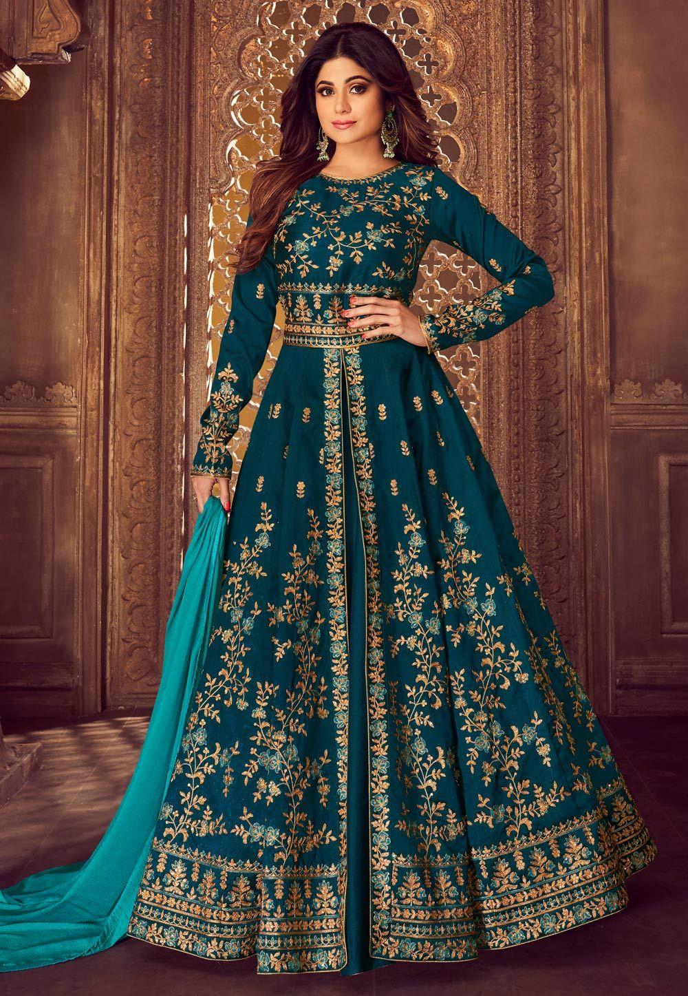 448f41a5f6 Buy Shamita Shetty Blue Silk Embroidered Long Choli Lehenga 167897 online  at best price from vast