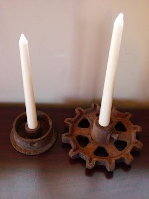 Gear candle holders...alright - mine looked really different because I used bike gears, but I've made a few candle holders out of old gears - they turn out great!