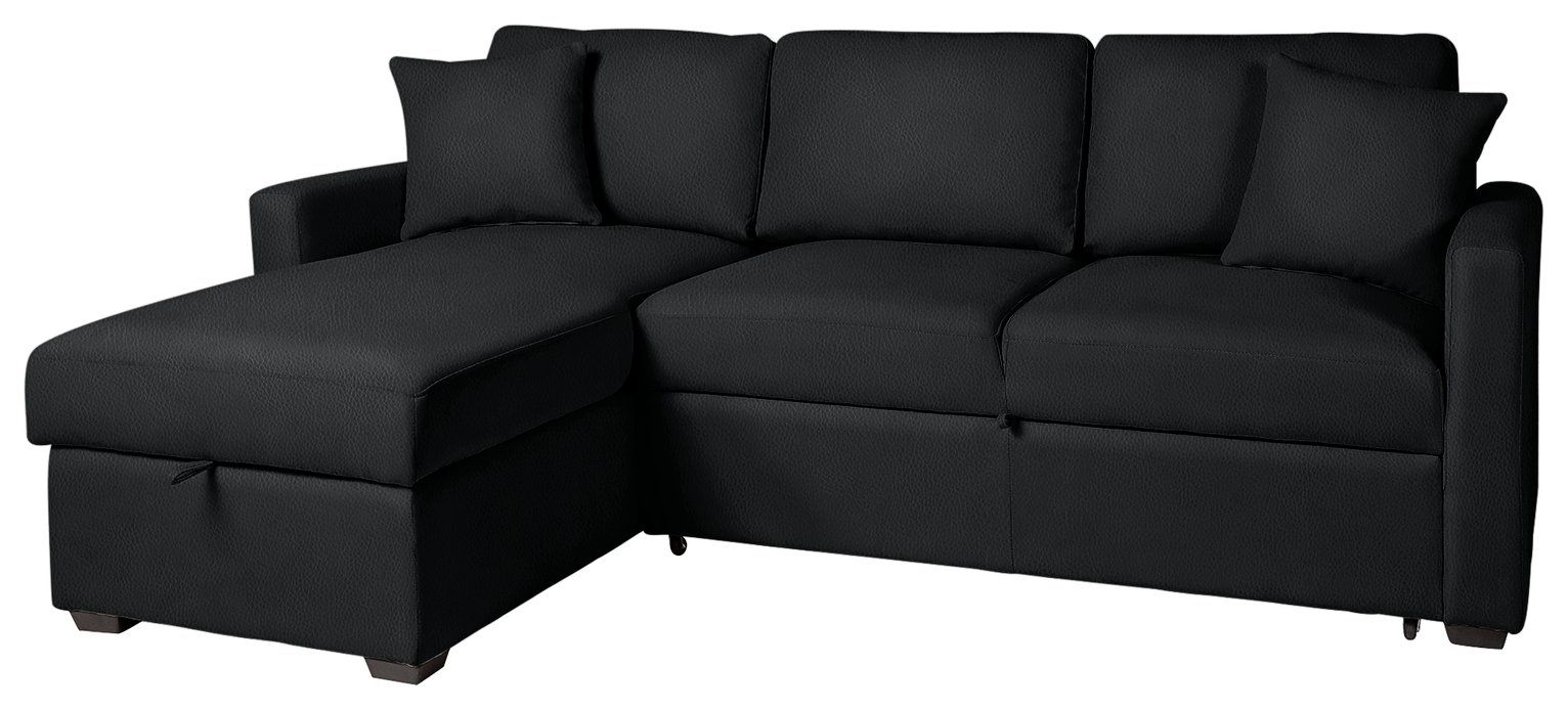 Buy Argos Home Reagan Left Corner Faux Leather Sofa Bed Black Sofa Beds Argos In 2020 Faux Leather Sofa Leather Sofa Leather Sofa Bed