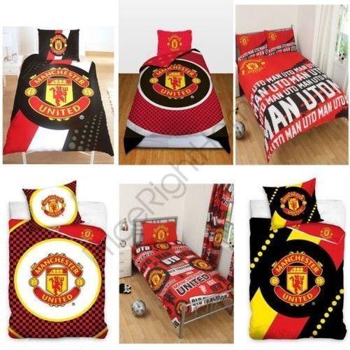 Manchester United FC Single  Duvet Cover Bed Set Football Bedding Man Utd