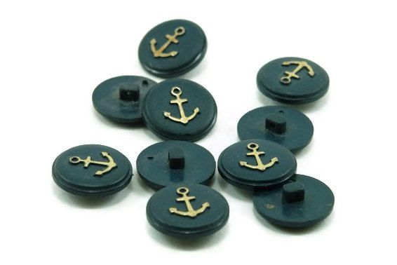 Navy Blue & Gold Plastic Vintage Nautical Buttons by