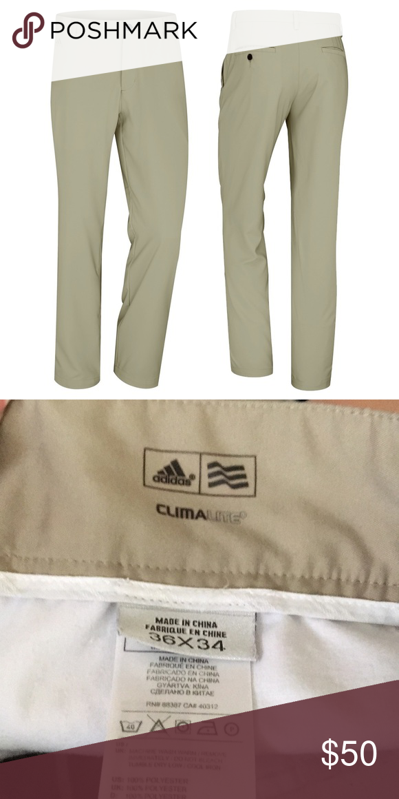 fcf7aa510871 Adidas Men s Clima Lite 3-Stripe Golf Pants Like New! Flat-front Tech