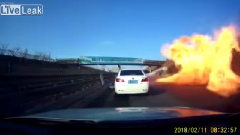 Watch A Massive Fireball Engulf Cars On A Freeway In China Car