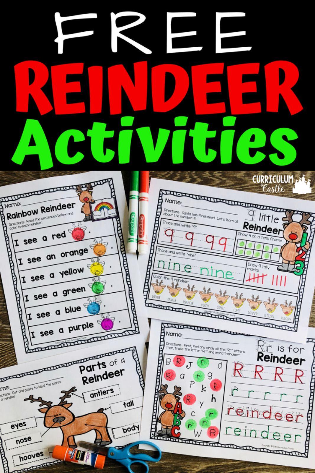 Reindeer Holiday Activities Freebie
