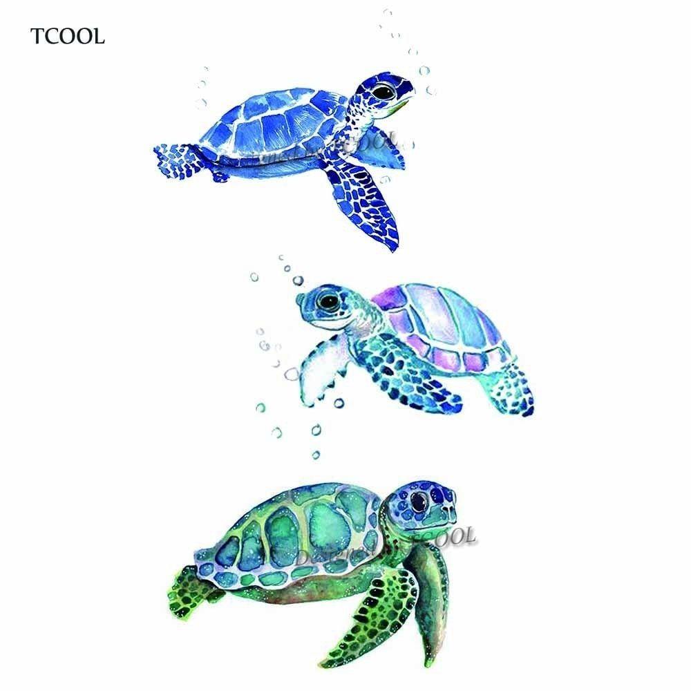 HXMAN Turtle Temporary Tattoo Sticker Waterproof Women Fashion Fake Body Art Arm Tattoos 9.8X6cm Kids Hand Tatoo A-349