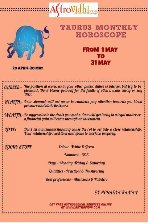 Check your Taurus Monthly Horoscope (May-2016) Read your