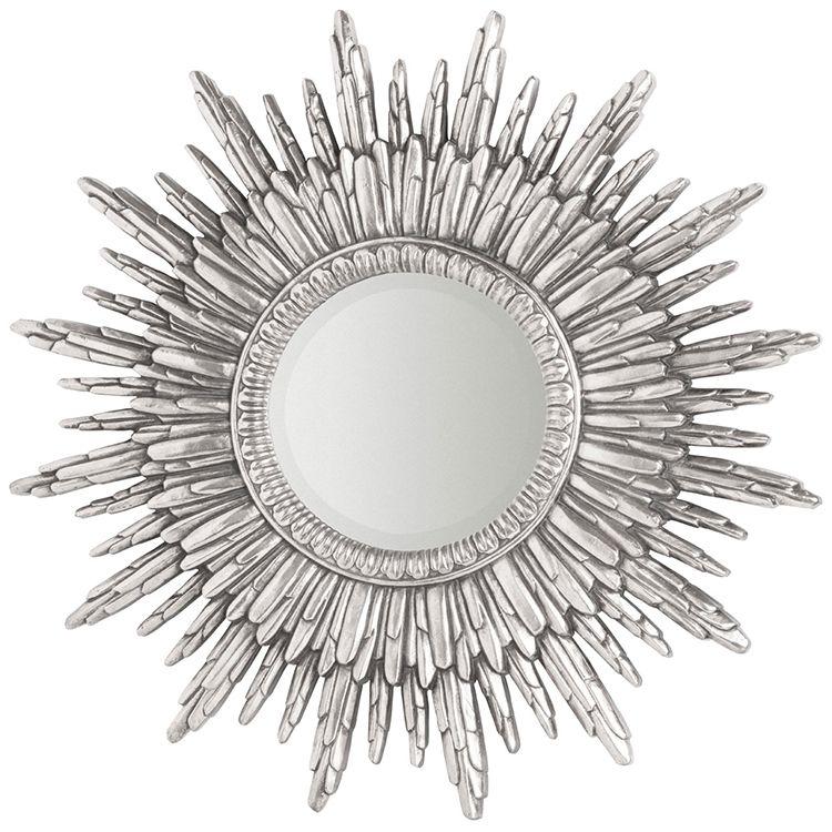 Round Silver Sunburst Wall Mirror 90 x 90 x 4cm