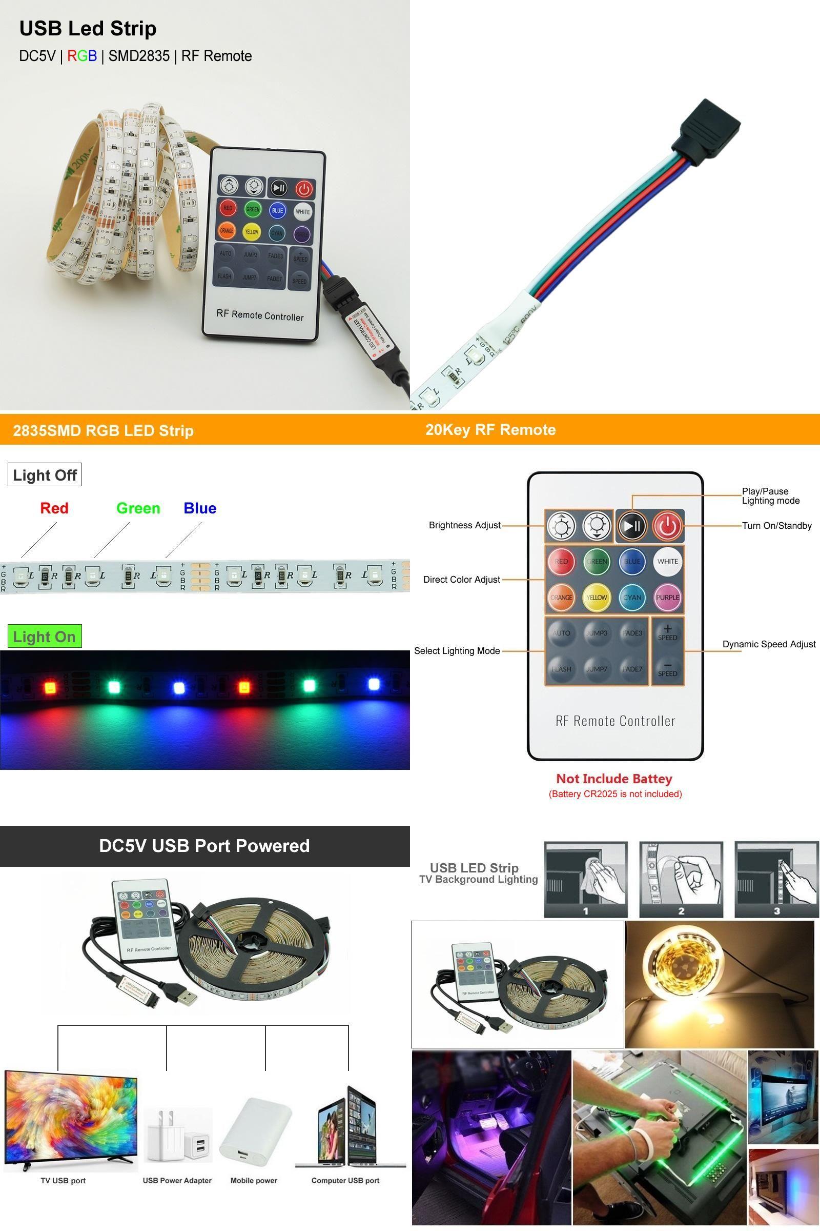 Visit to Buy RGB LED STRIP USB Colour Changing Lighting Kit cm M