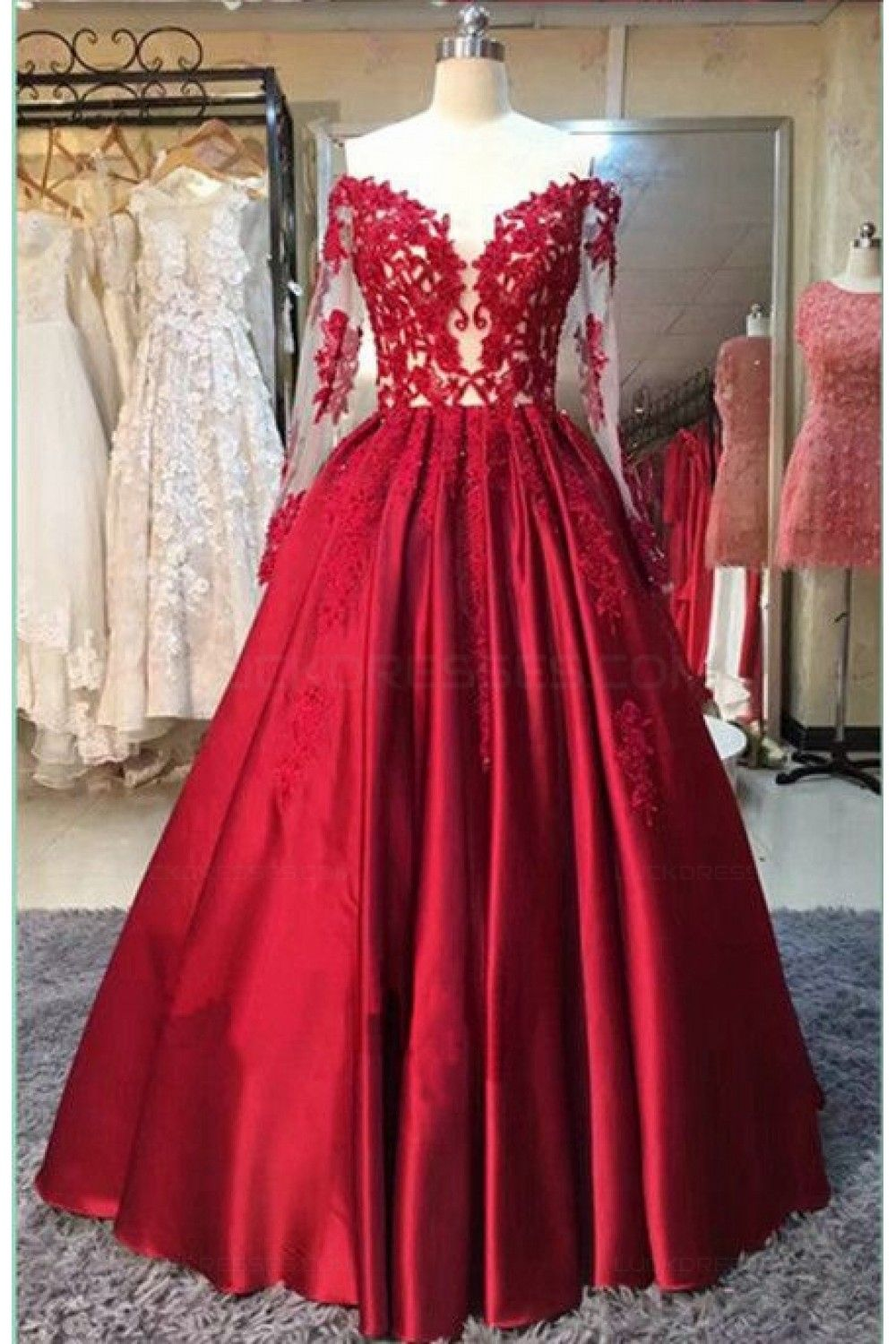 Long red long sleeves lace satin offtheshoulder prom dresses party
