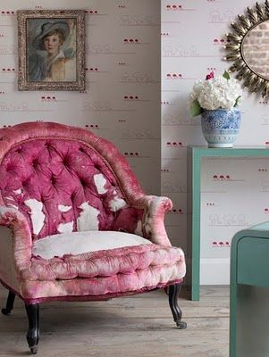 Love the pop of color and the torn chair.