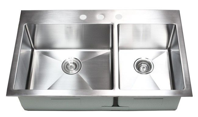 36 Inch Top Mount Drop In Stainless Steel 60 40 Double Bowl
