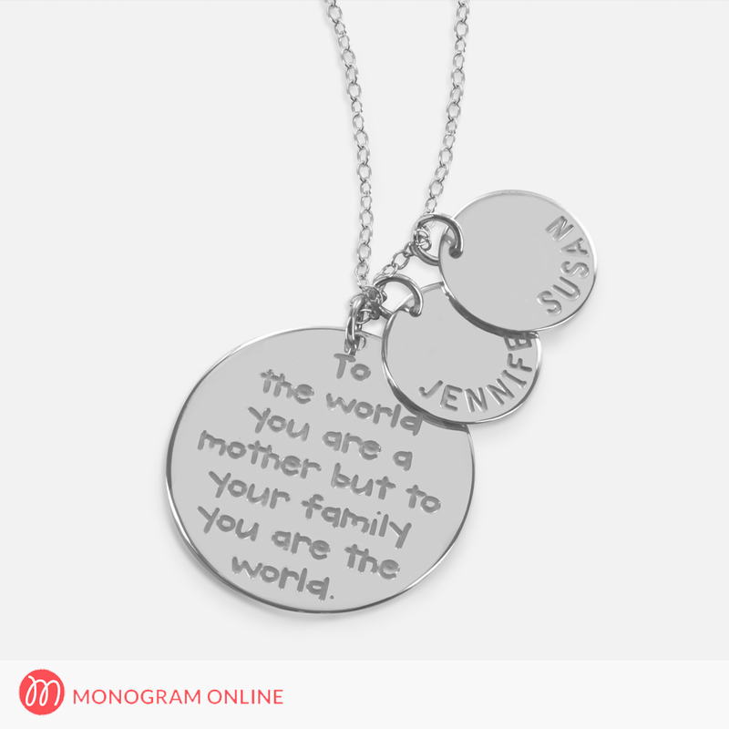 Mothers necklace with engraved quote and personalized with kids mothers necklace with engraved quote and personalized with kids names mozeypictures Images