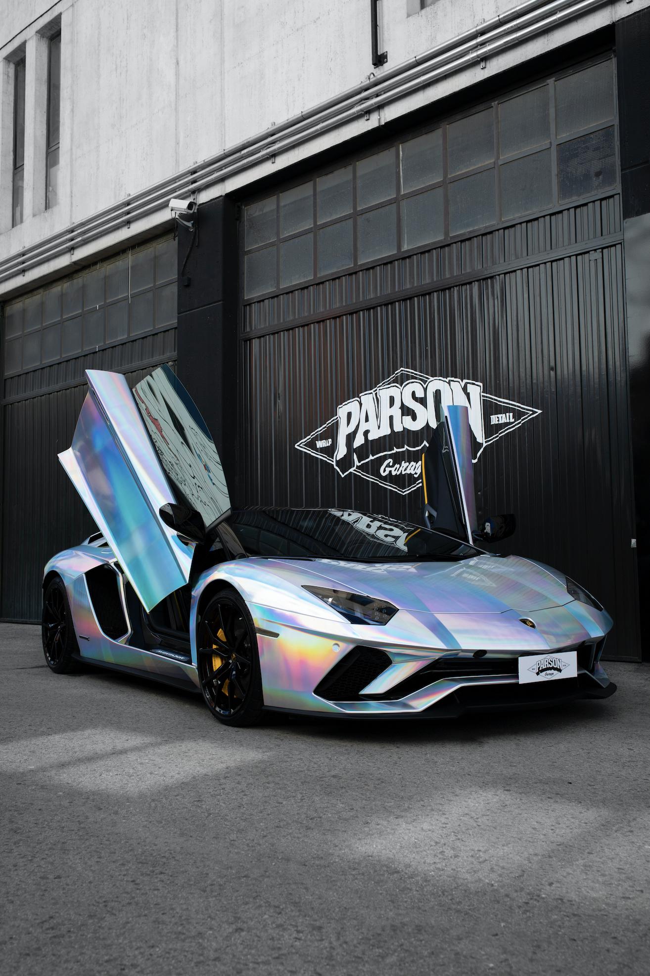 Lamborghini Aventador S Holographic Chrome by Parson Garage #Ferrari #lamborghiniaventador