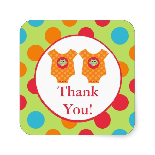 Baby Owl Clothes Twin Thank You Shower Sticker