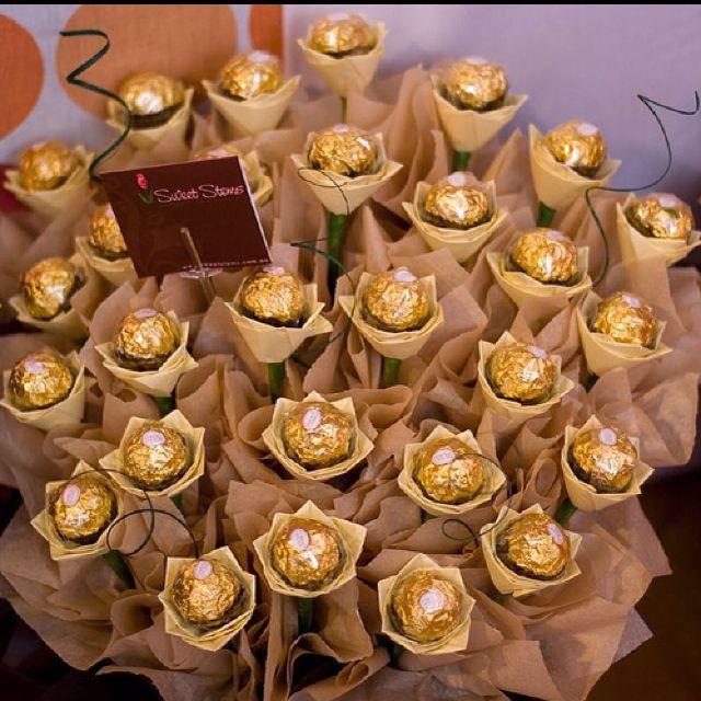 Ferrero rocher bouquet roche blumen pinterest for Pinterest geburtstagsgeschenk