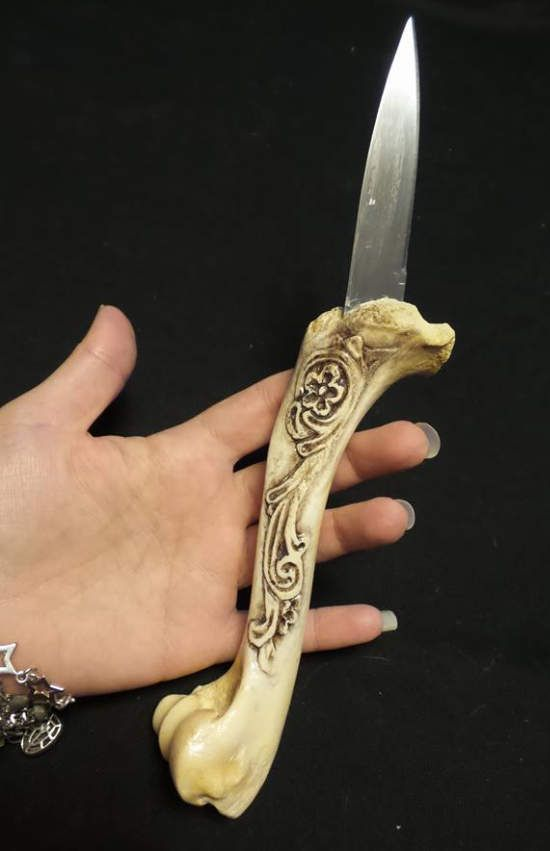 Fall Bone Knife Deer Leg Bone Knife Painted Bone Athame Floral Carved Knife Bone Knife Athame Alter Knife Stone Knife Bone Carving Leg Bones Athame