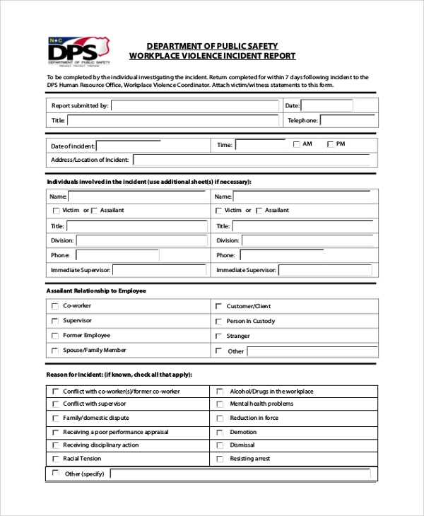 Employee Incident Report Templates (3) TEMPLATES EXAMPLE