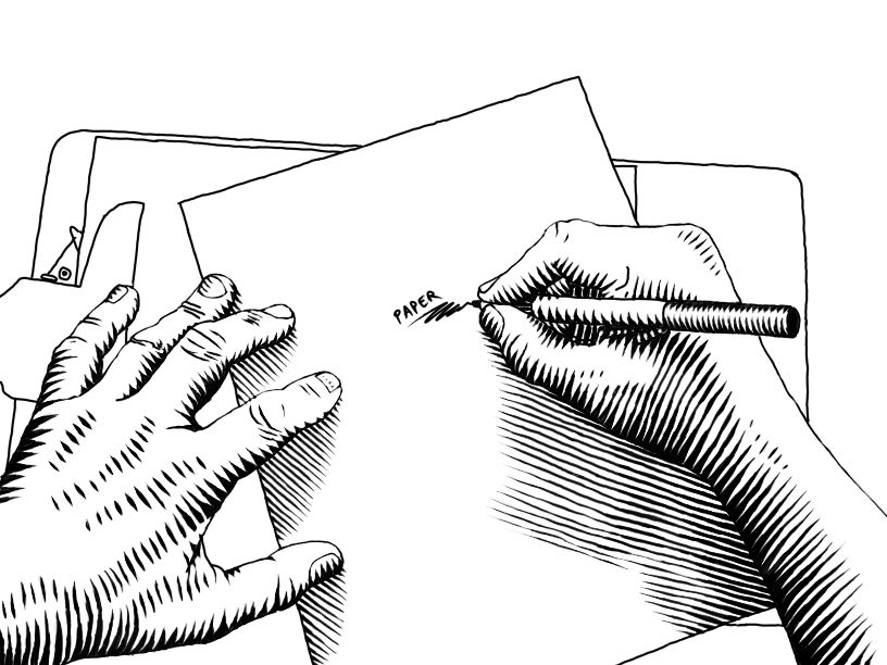 Line Art Illustration Style : Woodcut style illustration of hands drawing on paper my artwork