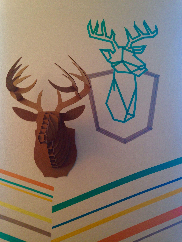 Washi tape + Cardboard deer head