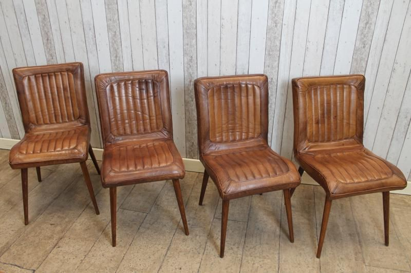 Vintage Retro Style Tan Leather Dining Kitchen Restaurant Chairs