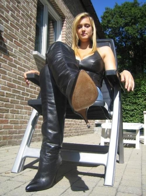 Lick her high heel leather boots