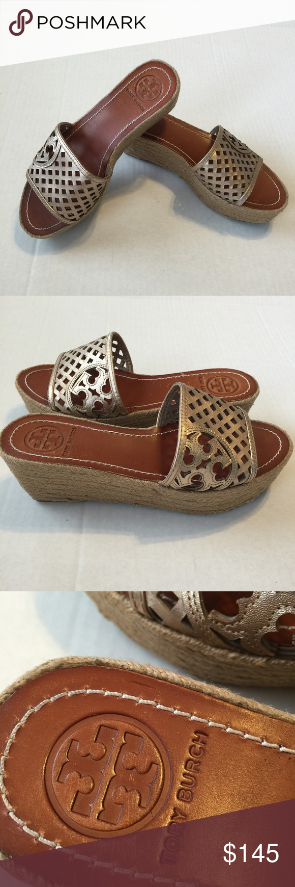 "Tory Burch Wedge Espadrilles.   Size 8 Really cute leather slide on espadrilles. Cut out logo on side. 2 1/2"" heel. No box. Only worn a few times. . Tory Burch Shoes"