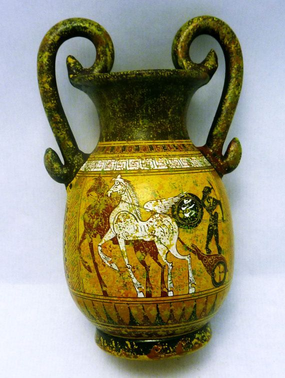 Ancient Greek Hand Painted Vase Pottery Amphora Geometric Period