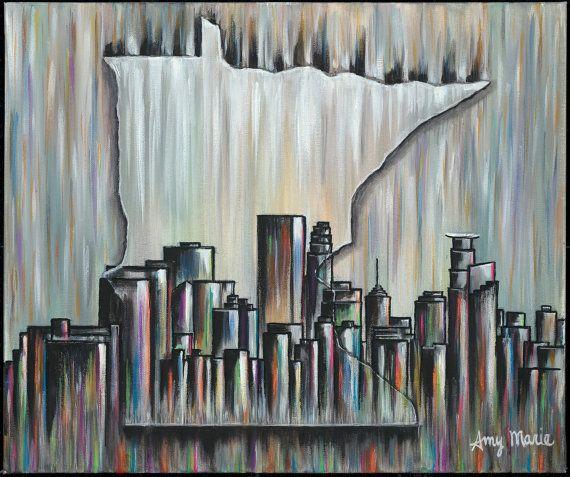 Minneapolis Skyline Art, Minneapolis Skyline Wall Art, Minneapolis ...