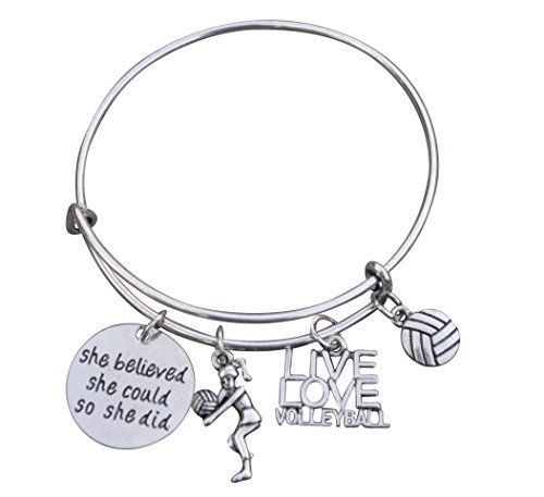 Volleyball Bracelet Girls Volleyball Jewelry Volleyball Charm Bangle Perfect Volleyball Gifts For Players Volleyball Jewelry Charm Bangle Bangle Bracelets With Charms